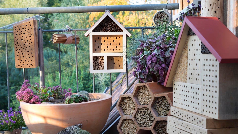 Verschiedene Varianten von Insektenhotels, die Sie ganz einfach selber bauen können