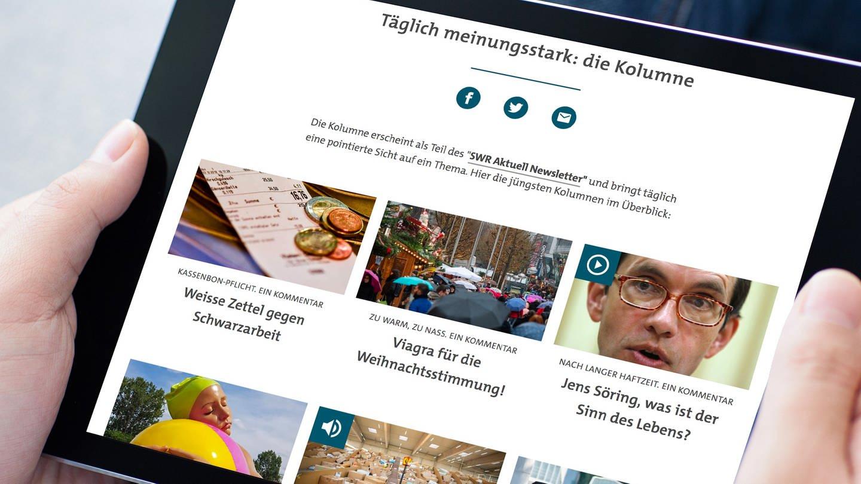 Blick auf die Website mit der Übersicht der aktuellen Kolumnen (Foto: Getty Images, Prykhodov)