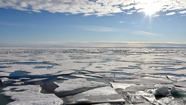 Nordpol: Auf dem Arktischen Ozean am Nordpol schwimmen mehrere Eisplatten (Foto: dpa Bildfunk, Picture Alliance)