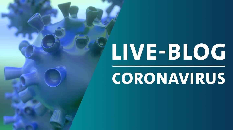 Montage eines schematischen Bildes von Viren der Familie Corona mit der Grafik von SWR Akktuell Live-Blog zum Coronavirus