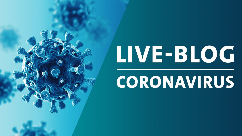 Montage eines schematischen Bildes von Viren der Familie Corona mit der Grafik von SWR Aktuell Live-Blog zum Coronavirus