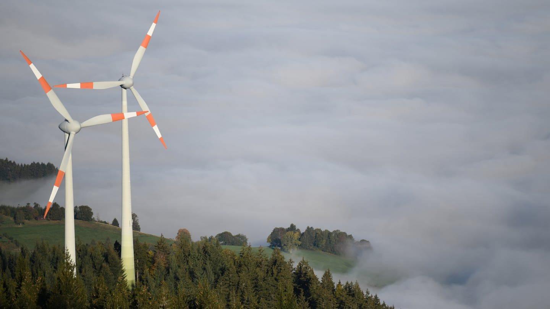 Zwei Windräder stehen am Fuße des Berges Schauinsland im Schwarzwald (Foto: dpa Bildfunk, picture alliance/Patrick Seeger/dpa)