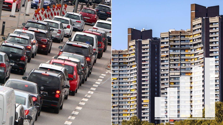 Symbolbild zur SWR Umfrage zur Kommunalwahl in Baden-Württemberg Verkehrsprobleme (Autos im Stau) Mietprobleme (Hochhaus) (Foto: SWR, Imago)