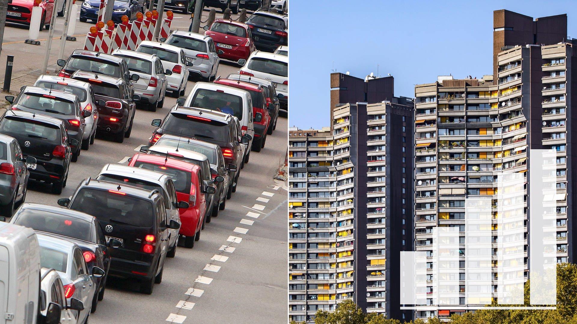 Symbolbild zur SWR Umfrage zur Kommunalwahl in Baden-Württemberg Verkehrsprobleme (Autos im Stau) Mietprobleme (Hochhaus)