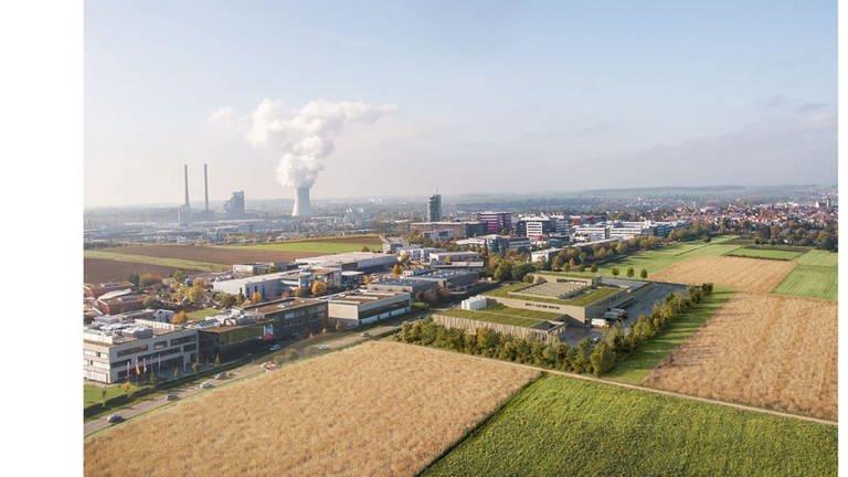 Der geplante Neubau der Bäckerei Härdtner in Erlenbach aus der Luft betrachtet