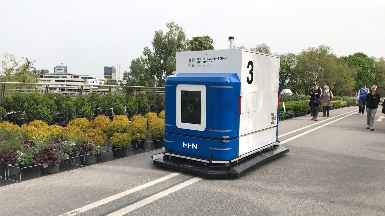 Autonomer Transporter Modellprojekt für automatischen Warentransport auf der Buga in Heilbronn Buga:Log (Foto: SWR)