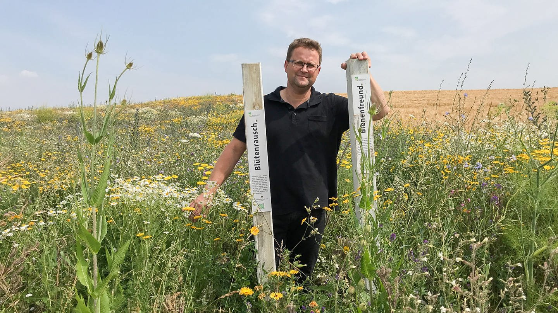 Blühacker in Kupferzell-Fessbach Landwirt Jürgen Maurer (Foto: SWR, Nicole Heidrich)