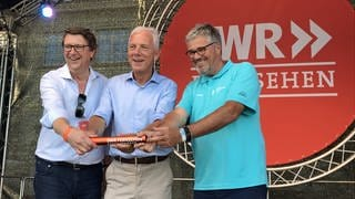 Christoph Mohr (SWR Marketing), Heilbronns OB Harry Mergel, Hanspeter Faas (BUGA Heilbronn), v.l.n.r. (Foto: SWR)