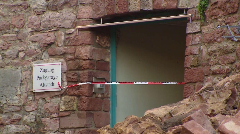 Eingestürzte Mauer in Wertheim (Foto: SWR)