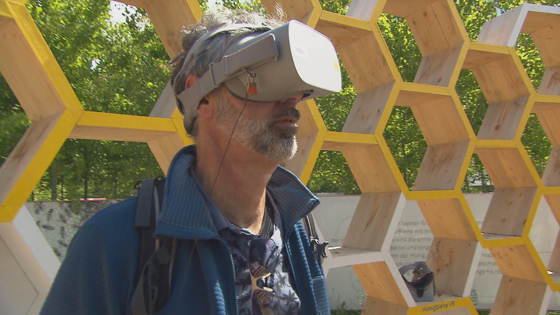 Mit der Virtual-Reality-Brille können Besucher auf der Bundesgartenschau (BUGA) Einblick in das Leben der Bienen bekommen