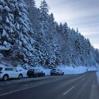 Mehrere Autos parken an einer Zufahrtsstraße zur Schwarzwaldhoschtraße, umgeben von einer wunderschönen weißen Winterlandschaft. (Foto: SWR)