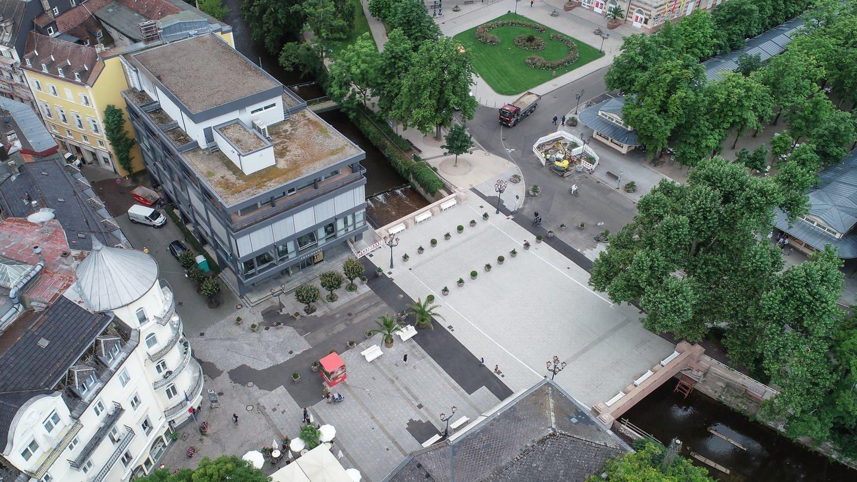 Luftaufnahme der Fieser-Brücke in Baden-Baden