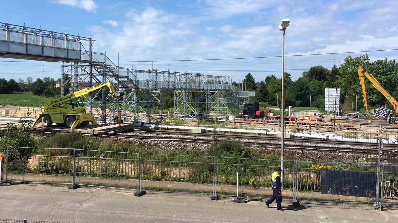 Baustelle nach Tunnelhavarie auf Rheintalstrecke bei Rastatt (Foto: SWR)