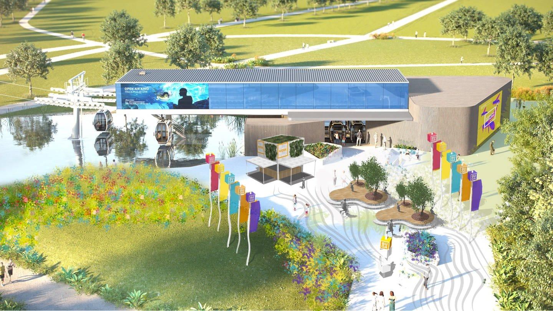 Seilbahn im Modell auf Bundesgartenschau in Mannheim 2023