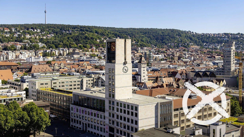 das Stuttgarter Rathaus und ein rotes Wahl-Kreuz (Foto: Imago, Montage SWR)