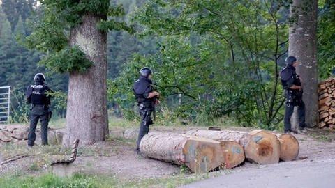 Polizisten stehen vor einem Waldstück an einer Straße bei Oppenau. (Foto: dpa Bildfunk, Sven Kohls/SDMG)