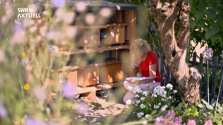 Hummel-Expertin Sarah Adelmann inihrem Garten in Lörach (Foto: SWR)