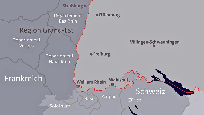 Eine grafische Karte, die die Länder Deutschland, Frankreich und Schweiz im Dreiländereck zeigt. (Foto: SWR)