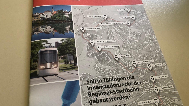 Broschüre der Stadtverwaltung über die Innenstadtstrecke der Regionalstadtbahn