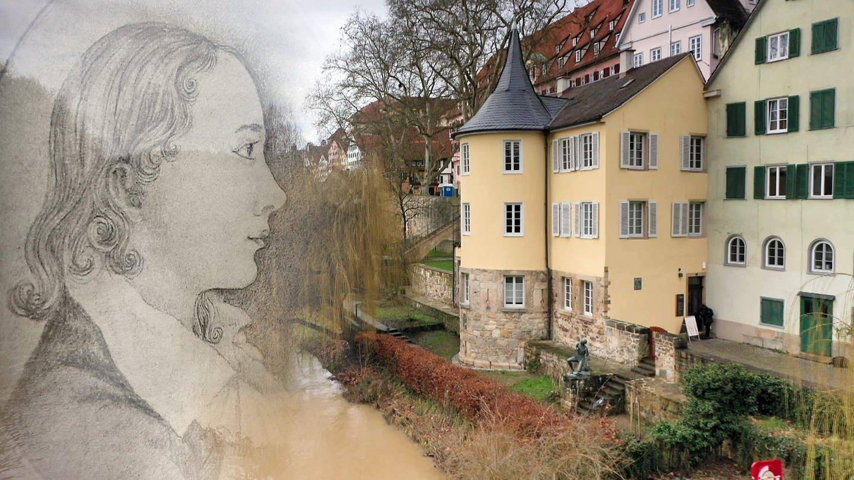 Montage eines Portraits von Friedrich Hölderlin und dem Hölderlinturm in Tübingen (Foto: SWR)