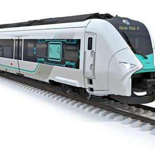 Das von Siemens zur Verfügung gestellte Computerbild zeigt einen Wasserstoffzug. (Foto: dpa Bildfunk, picture alliance/dpa/Siemens AG   ---)