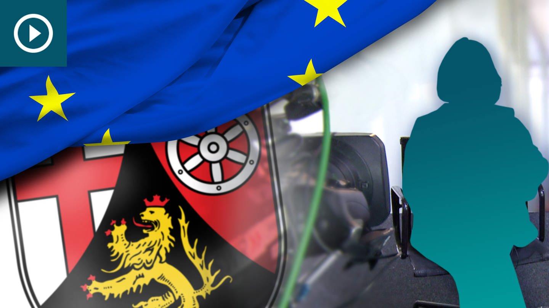 Die EU-Flagge, das Wappen von Rheinland-Pfalz und der Blick in ein Studio während einer Interview-Situation. (Foto: SWR)