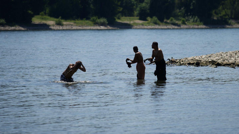 Badegäste genießen das heiße Frühsommerwetter im Wasser des Rheins (Foto: dpa Bildfunk, picture alliance/Henning Kaiser/dpa)