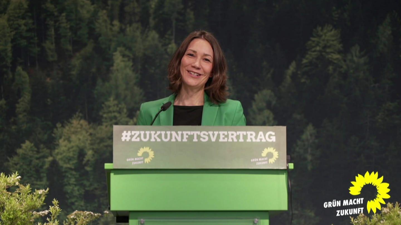 Anne Spiegel auf der Delegiertenversammlung der Grünen am 6. Mai 2021 (Foto: SWR)