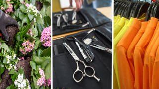 Collage: Blumen, Friseurschere, Shirts an Kleiderbügel (Foto: picture-alliance / Reportdienste, Collage: picture alliance/dpa/dpa-Zentralbild | Kira Hofmann, picture alliance/dpa | Sina Schuldt, picture alliance/dpa/Europa Press, picture alliance / blickwinkel/McPHOTO | McPHOTO)