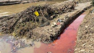 Rot verfärbtes Wasser deutet auf eine starke Verschmutzung in einem Graben hin. (Foto: SWR)