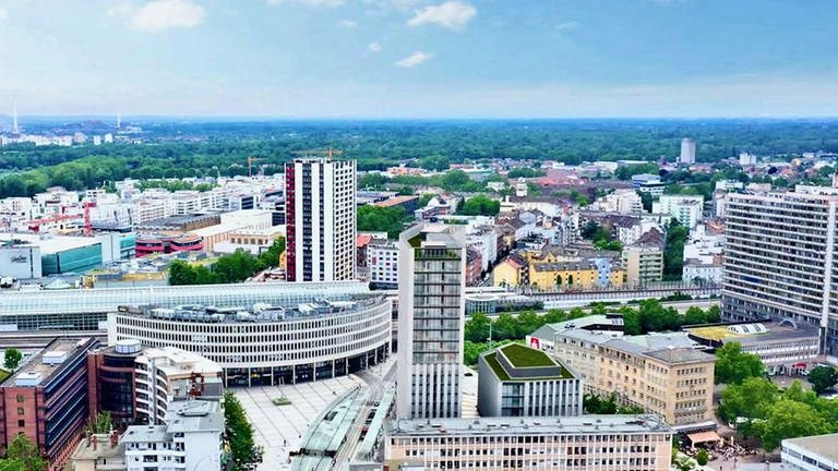 Foto-Montage mit dem geplanten Metropol-Hochhaus am Berliner Platz in Ludwigshafen (Vogelperspektive) (Foto: AG Consult und Projektmanagement)
