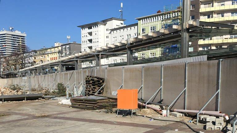 Die Baustelle am Berliner Platz im Februar 2018 (Foto: SWR, Irmgard Reißinger)