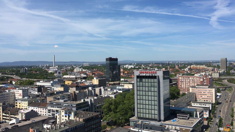 Innenstadt von Ludwigshafen aus der Vogelperspektive