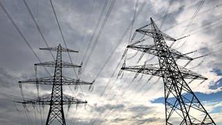 Zwei Masten einer Stromtrasse vor bewölkttem Himmel (Foto: dpa Bildfunk, Karl-Josef Hildenbrand)