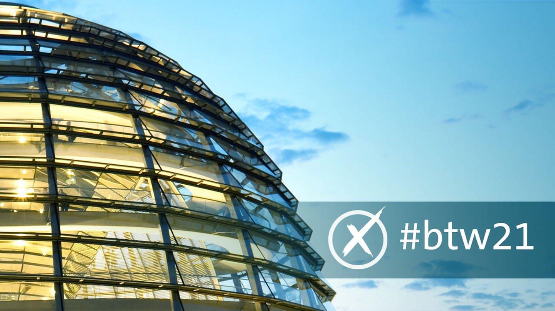Außenansicht der Reichstagskuppel mit Hashtag #btw21, Symbolbild für das SWR Wahlspecial zur Bundestagswahl 2021 in BW und RLP