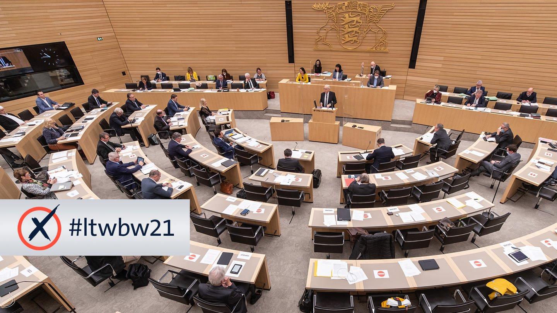 Landtagswahl Baden-Württemberg 2021: Multimediales Wahlspecial des SWR (Foto: dpa Bildfunk, SWR, Christoph Schmidt / Schriftzug SWR)