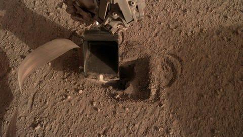 """Die Mars-Sonde InSight ist schon im November 2018 erfolgreich auf der Marsoberfläche gelandet. Doch der in Deutschland entwickelte """"Maulwurf"""" HP3 hat es bislang nicht geschafft, mit seiner Rammsonde etwas tiefere Schichte der Marsoberfläche zu erkunden. (Foto: Pressestelle, NASA/DLR)"""
