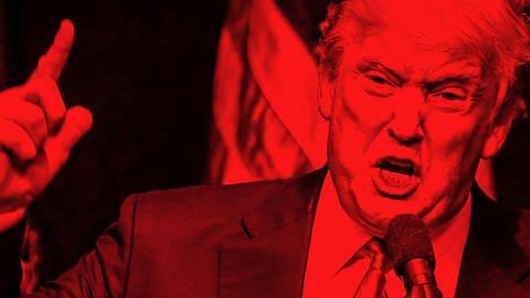 Donald Trump rot beleuchtet steht am Mikrofon mit hochgehobenen Zeigefinger © SWR (Foto: SWR)