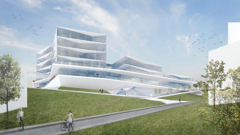Ansicht des Entwurfs v. Wurm+Wurm von der Hands-Bredow-Str. (Foto: Von der Hans-Bredow-Staße aus wirkt das Gebäude wie vier einzeln gegliederte Pavillons.)