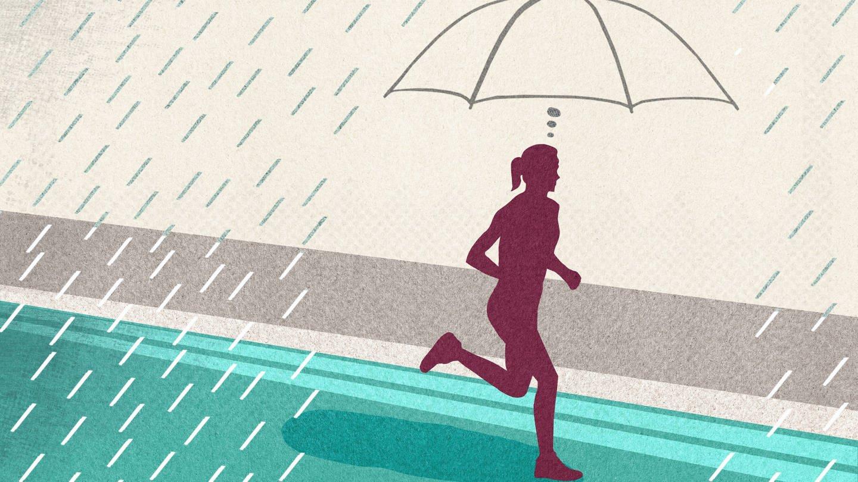 Wir man bei Regen weniger nass wenn man rennt? (Foto: Imago, imago images/Ikon Images)