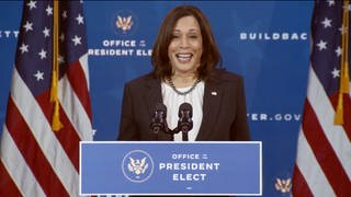 Die gewählte Vizepräsidentin der Vereinigten Staaten, Kamala Harris, in Wilmington  USA am 1. Dezember 2020 (Foto: picture-alliance / Reportdienste, picture alliance / abaca | CNP/ABACA)