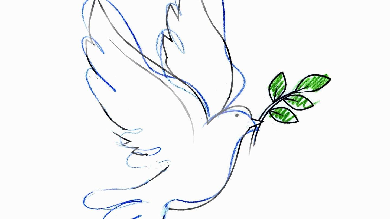 Symbol des Friedens: Taube mit Ölzweig im Schnabel (Zeichnung) (Foto: Imago, IMAGO / Ikon Images)