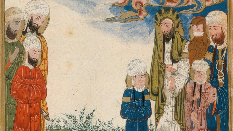 Mohammed, seine Tochter Fatima, sein Vetter Ali ibn Abi Talib (Mohammeds Vetter und durch Heirat mit Fatima auch sein Schwiegersohn) und seine beiden Enkel al-Hasan u. al-Husain. Miniatur aus einer arabischen Handschrift (18.Jh.)