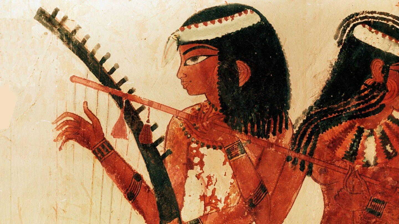 Detail eines Gemäldes aus dem Grab von Nakht mit drei Musikerinnen. Detail des Harfenistin. Ägypten um 1421-1413 v. Chr.
