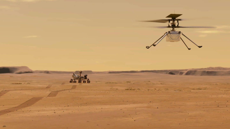 Illustration des NASA-Ingenuity-Mars-Hubschraubers im Flug, während der Perseverance-Rover wegrollt. Der Mars-Rover Perseverance ist am 18. Februar 2021 erfolgreich gelandet. Ingenuity ist  das erste Flugzeugn, das einen kontrollierten Flug auf einem anderen Planeten versucht.