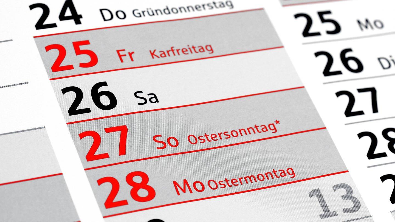 Ostertermin auf dem Kalender