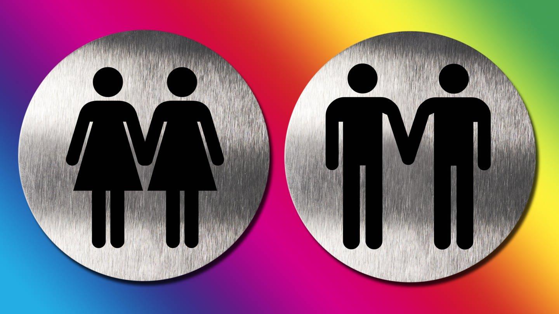 Männerpaar und Frauenpaar als Piktogramme (Foto: picture-alliance / Reportdienste, picture alliance/imageBROKER)