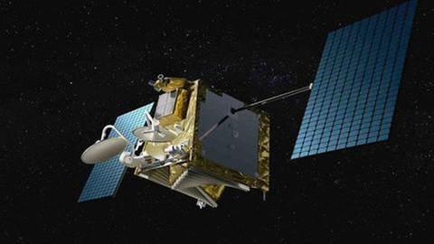 Computergrafik eines OneWeb-Satelliten im Weltall (Foto: picture-alliance / Reportdienste, picture-alliance / Reportdienste - WorldVu LLC/Airbus)