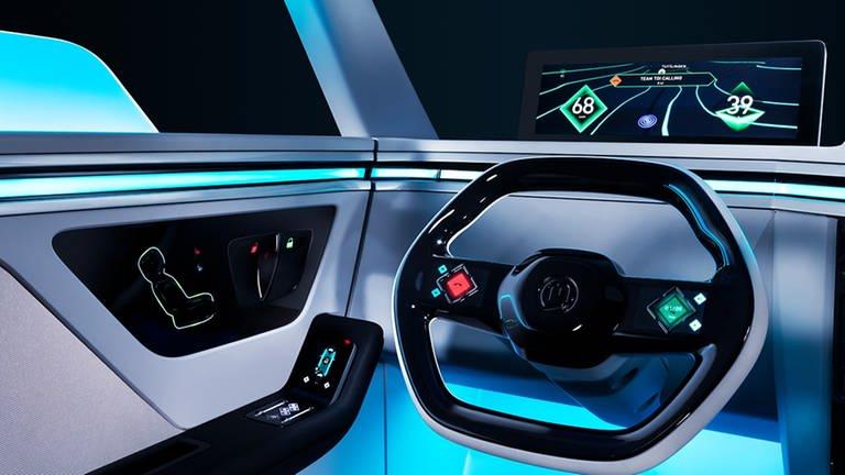 Bei der sogenannten 3D Navigation werden die Bedienelemente direkt auf die Straße projeziert. (Foto: Pressestelle, Marquardt)