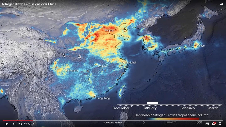 Die Coronakrise hat auch positive Folgen. Die Luftqualität verbesert sich in betroffenen Regionen, allerdings nur auf Zeit. (Foto: Pressestelle, esa)